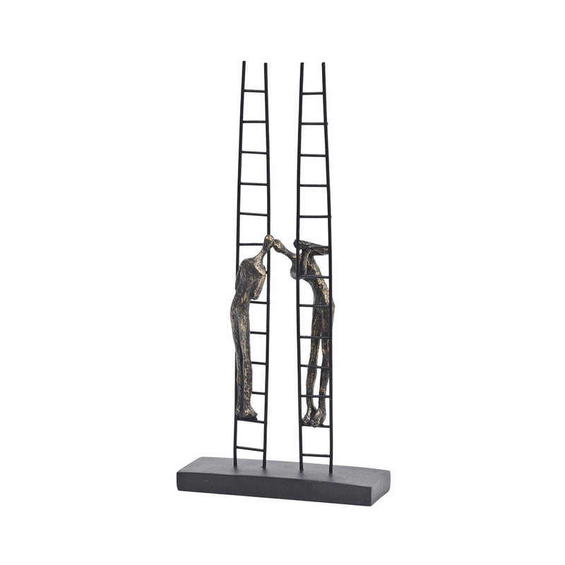 sculpture of two people climbing facing ladders. ladders reach upright freestanding