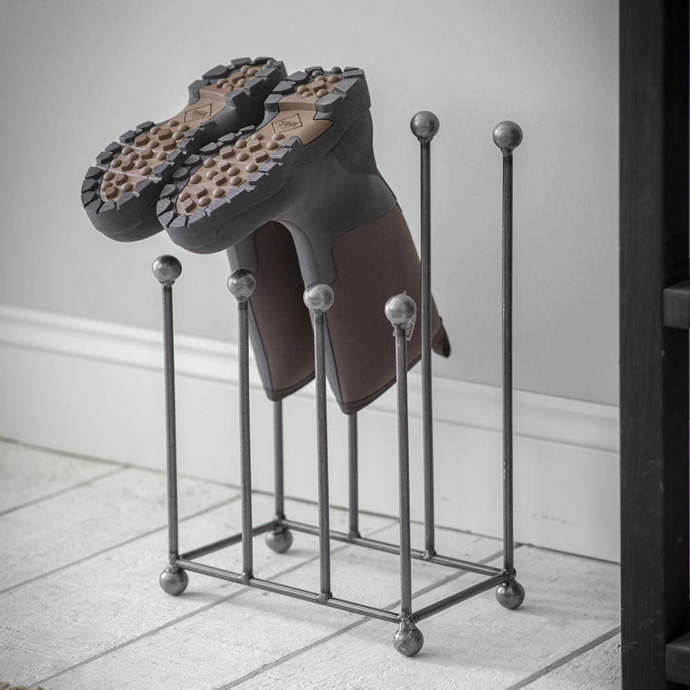 London boot rack- shown airing boots upside down to dry out