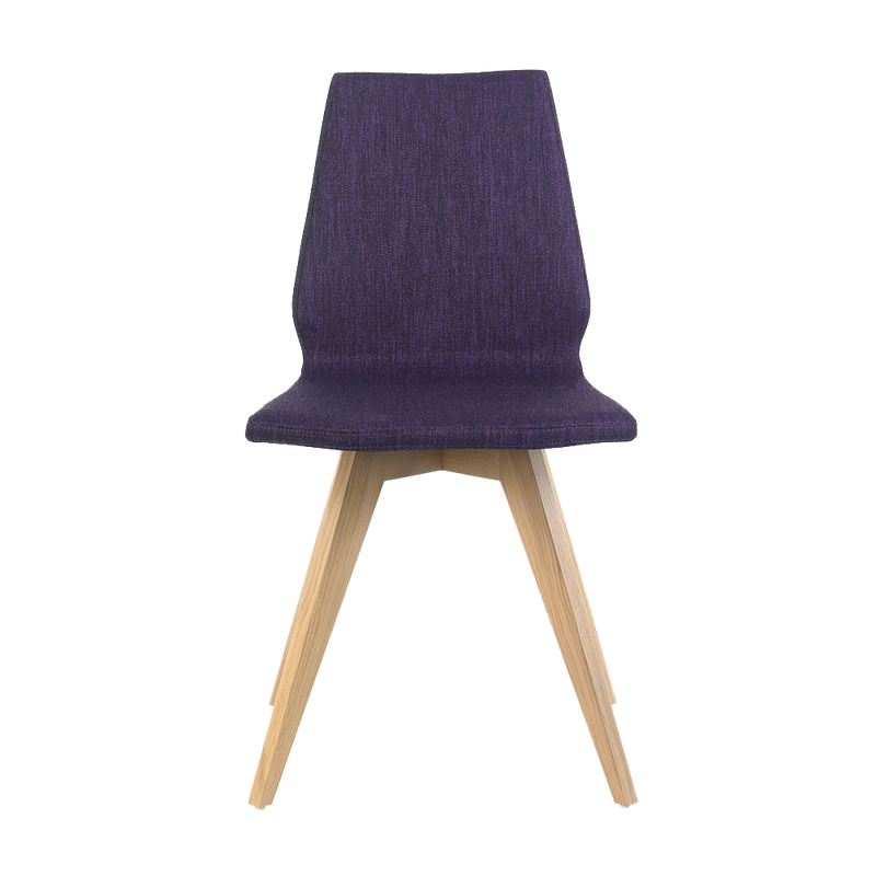 m41 chair in plum coloured aquaclean fabric with a light oil oak leg