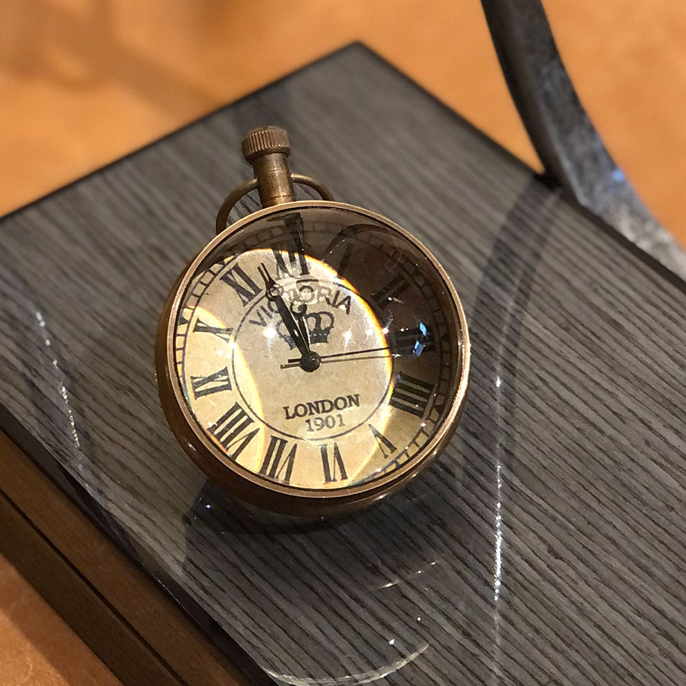 Desk Magnified Clock - Brass