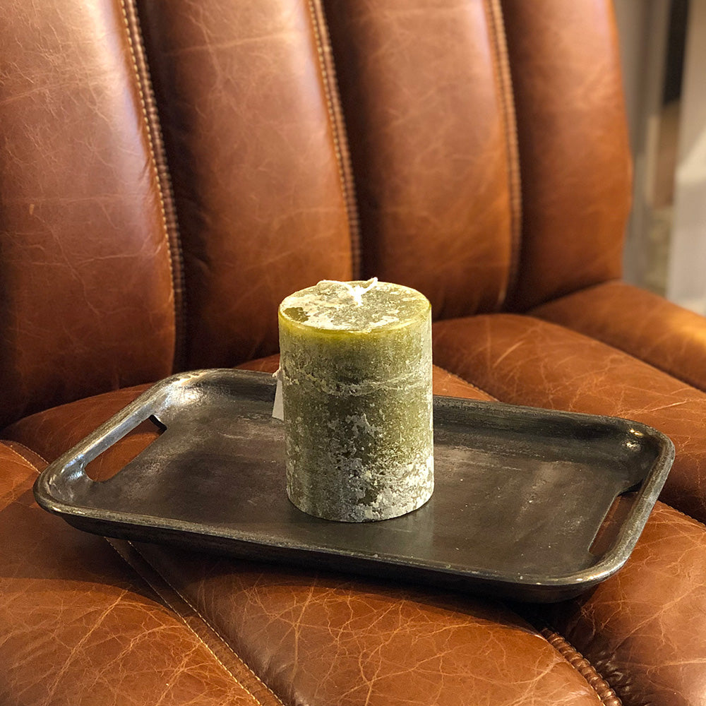 moss green scented pillar candle from St Eval hand made in Cornwall