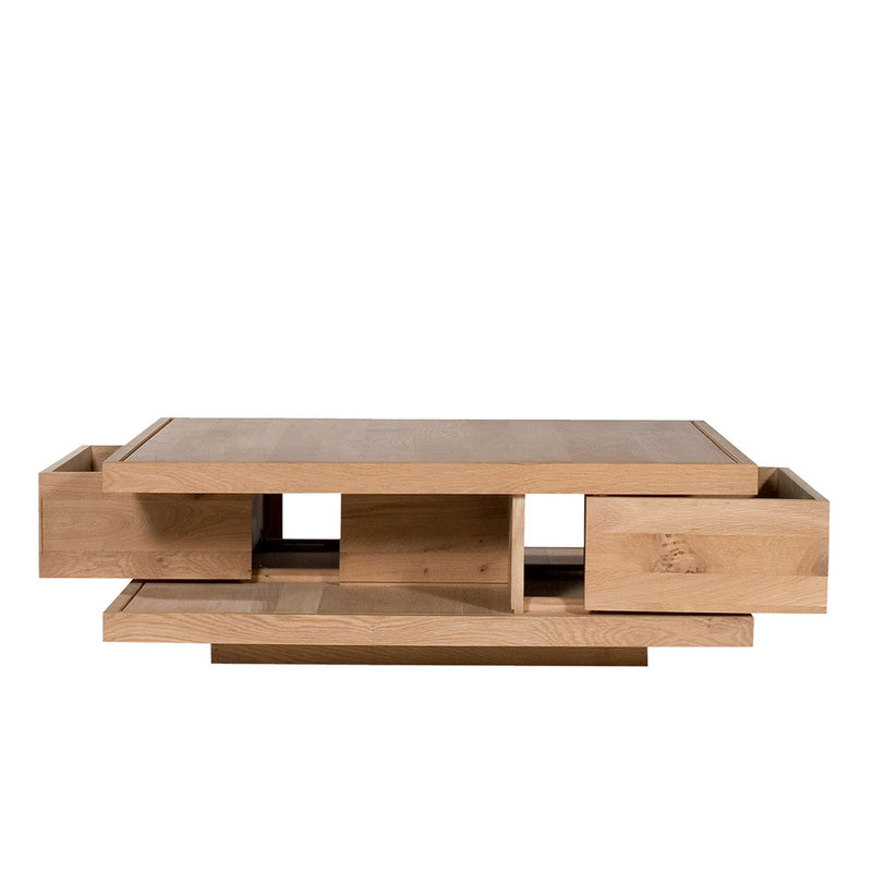 oak flat coffee table with drawers open