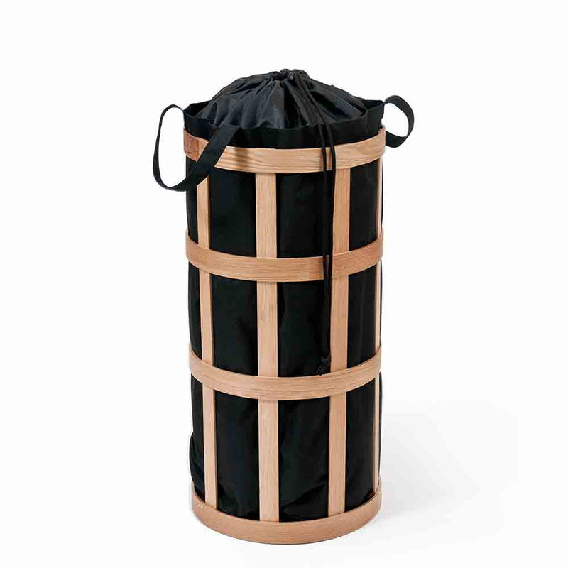 oak wood cage laundry basket, with inner bag closed using drawstring