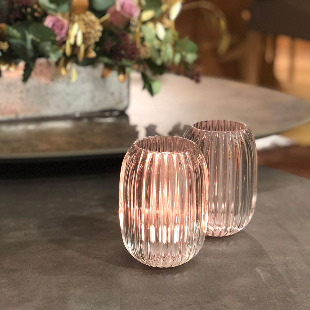 HEAVY GLASS RIBBED TEALIGHT- PALE PINK INNER, SHOWN LIT