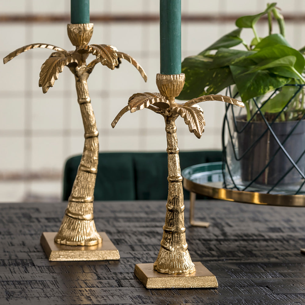 Gold Palm Candlestick