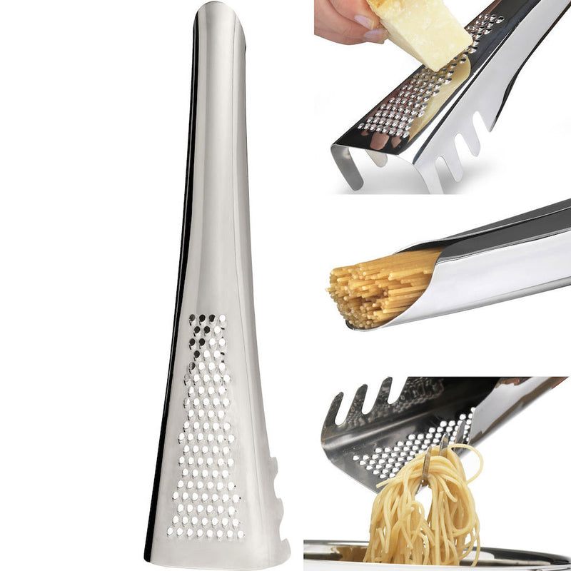 stainless steel metal hand held grater shoing grating cheese, measuring spaghetti in handle, and serving using claws