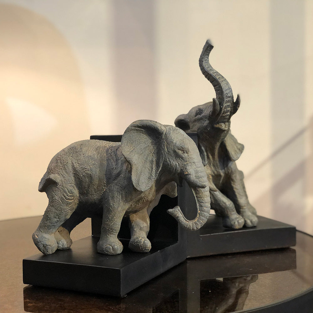 Playful Elephants Bookends