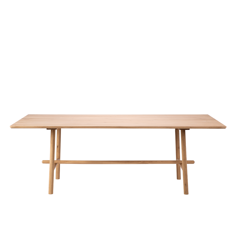 Solid oak profile dining table with 4 rounded profile legs