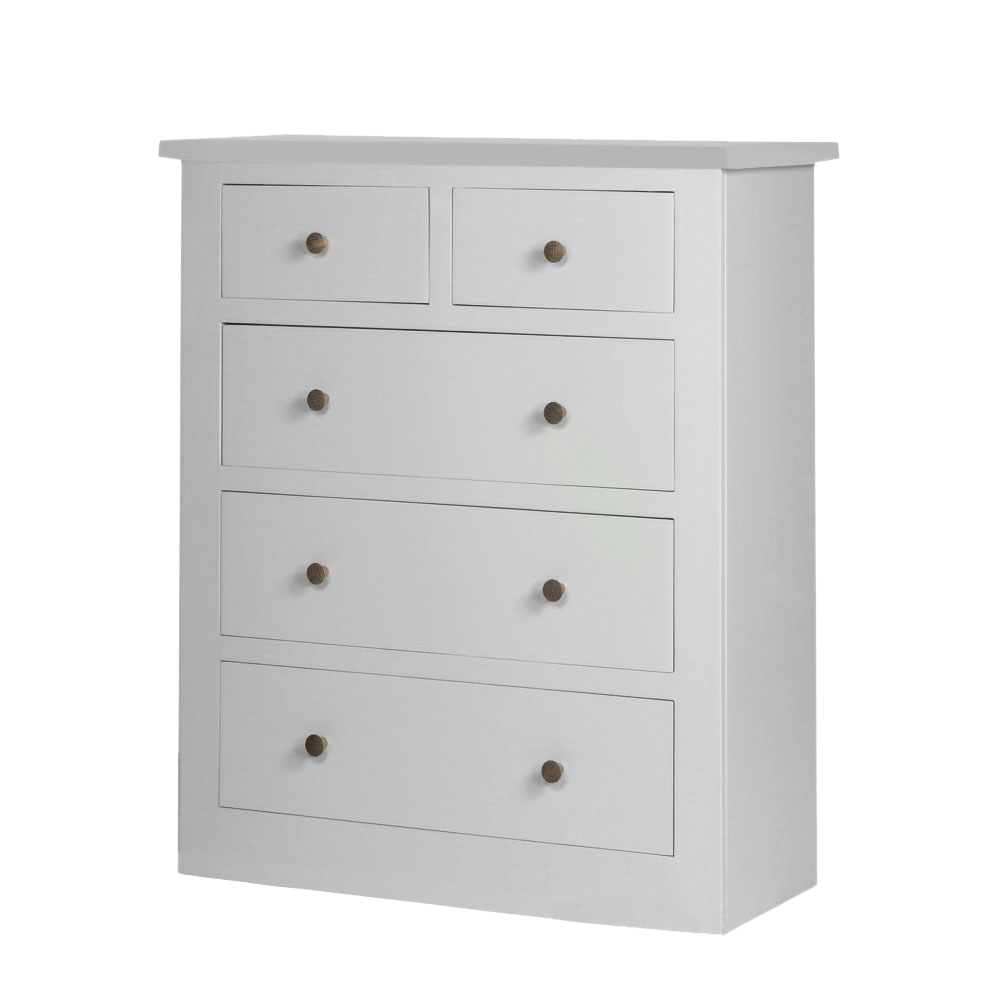 Provence painted chest of drawers  in all white paint and silver knobs .