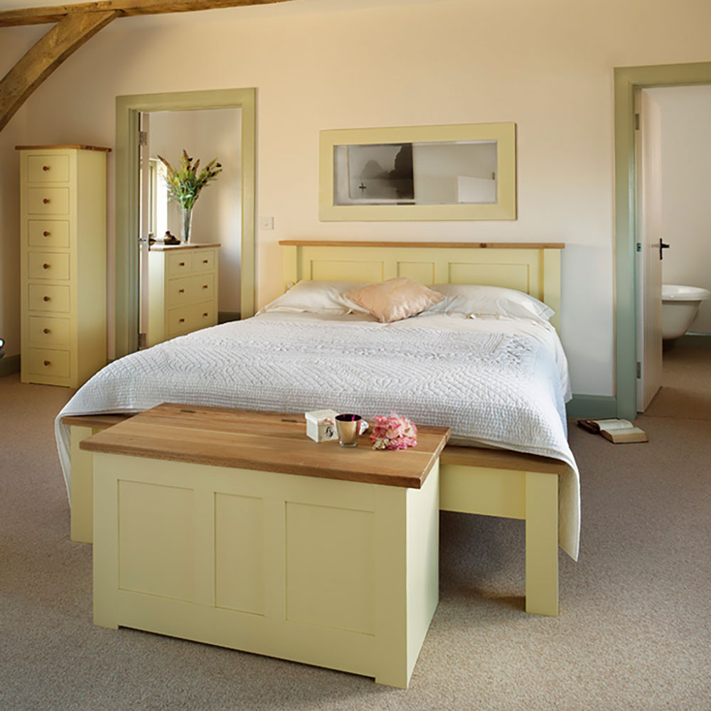 provence bedroom set with double panel bed - blanket box at the end of the bed and tall chest of drawers