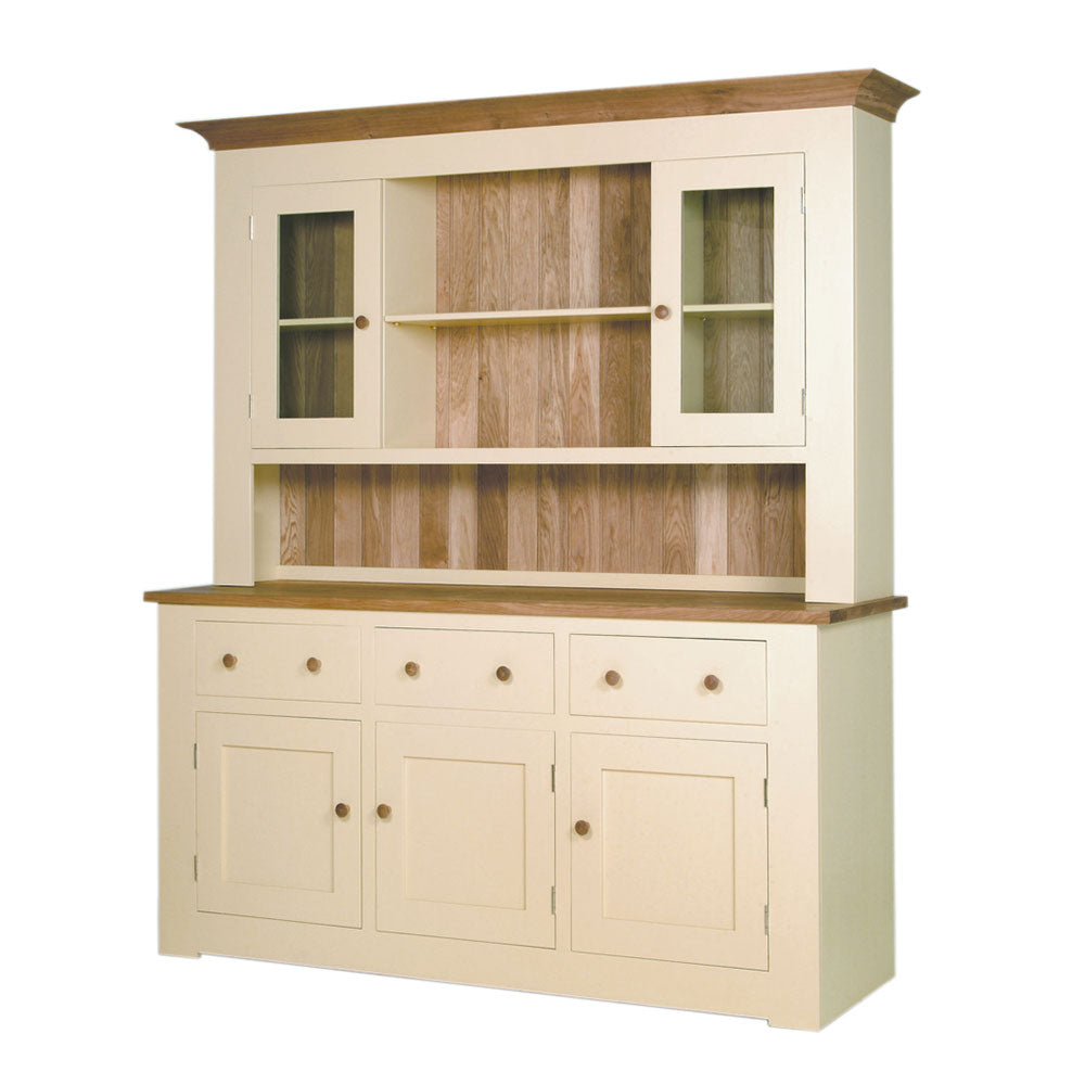 cream painted provence dresser, drawers and doors with glass front door display cupboards