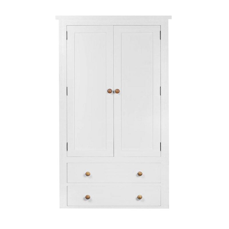 white painted provence wardrobe with 2 drawers in base and round oak knobs