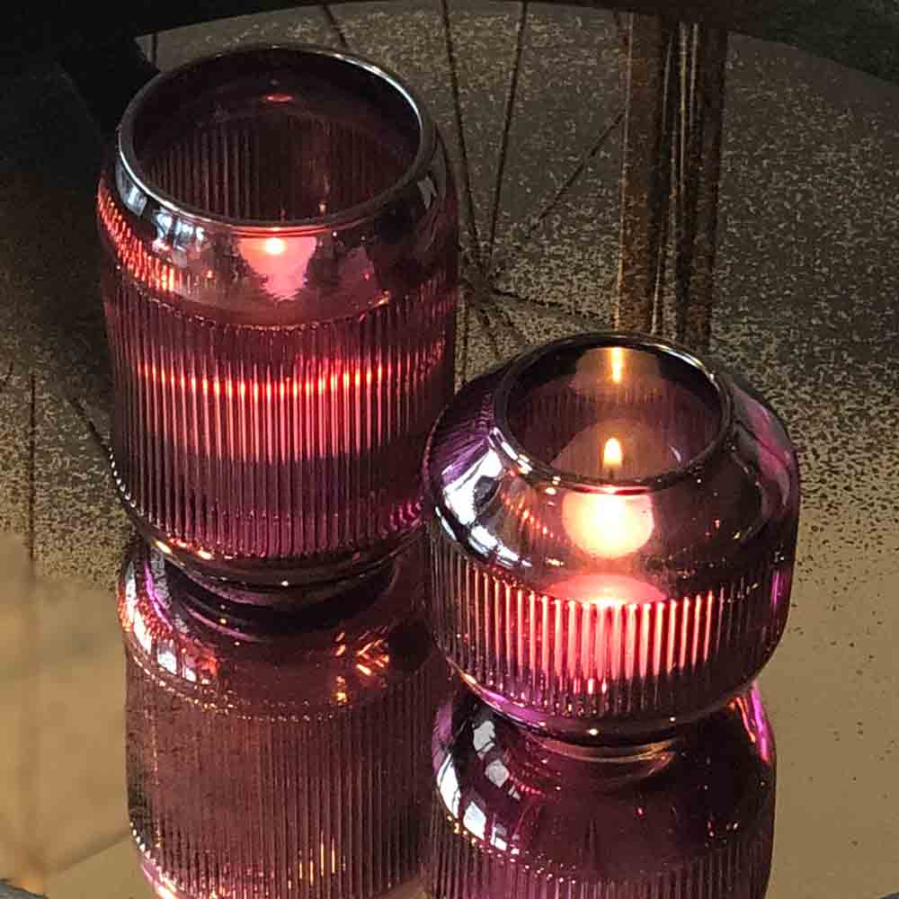 Purple Glass Tealight Holder