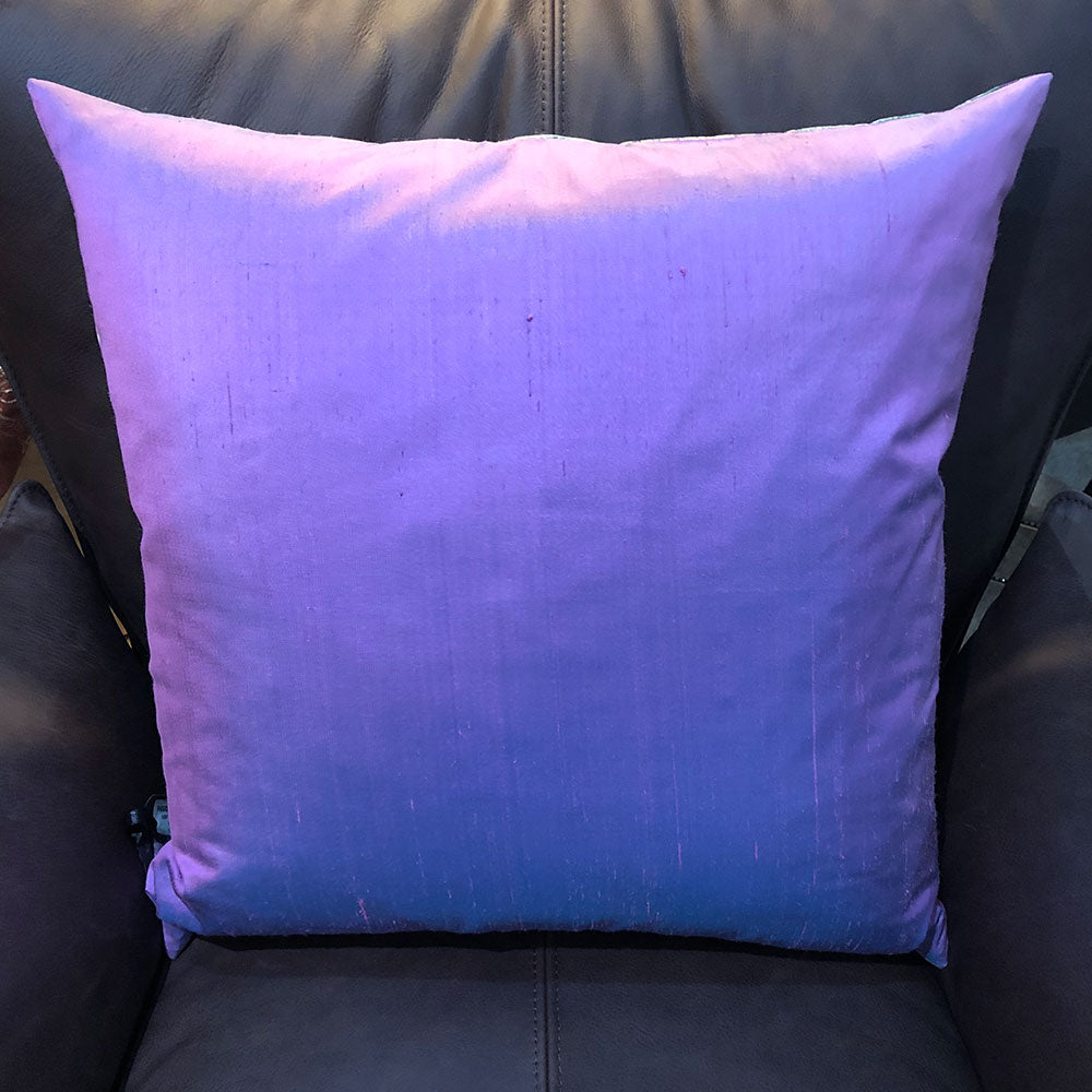 back view of cushion all over purple silk finish