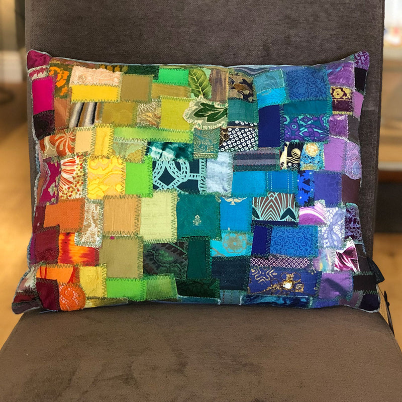 Rainbow Patchwork Sari Cushion