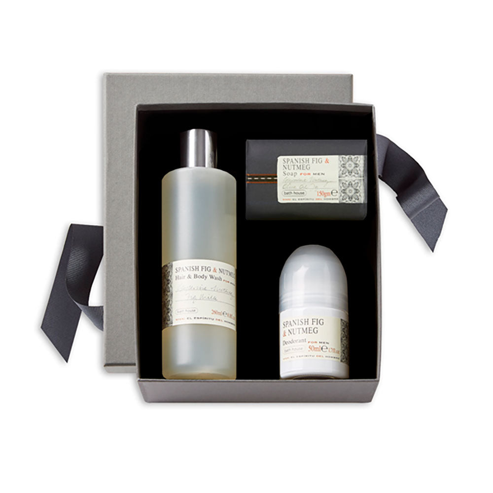 Spanish fig and nutmeg shower giftset,open = soap bar , bodywash and roll on.