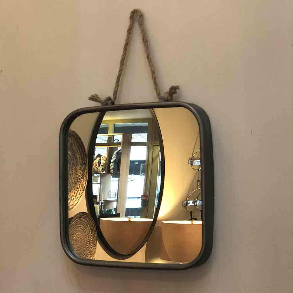 rounded edge square framed zinc mirror with rope hanger