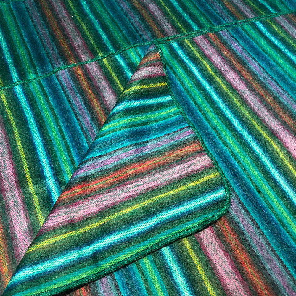 Alpaca Green Stripey Throw