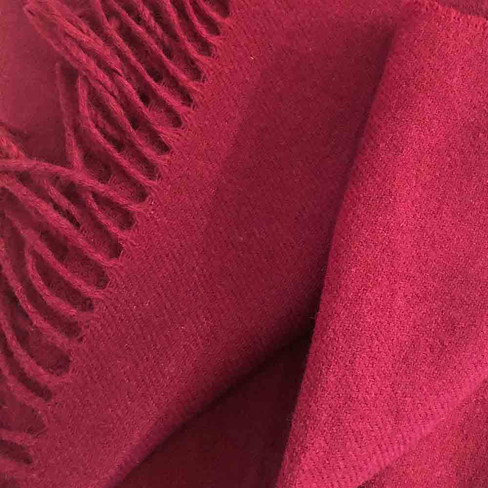 plain deep red colour wool throw blanket with fringe ends