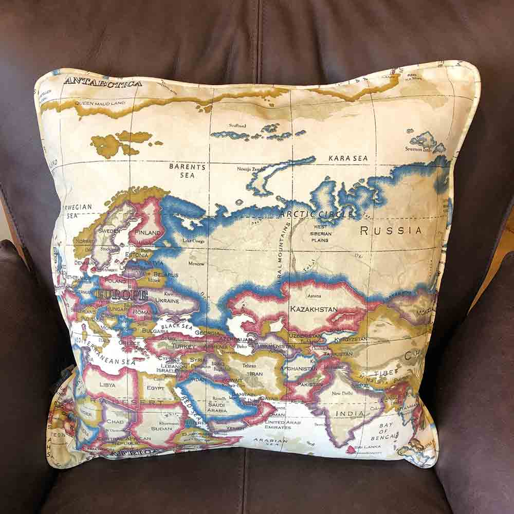 vintage style map cushion of great britain, europe, russia,china,mediteranean, north africa