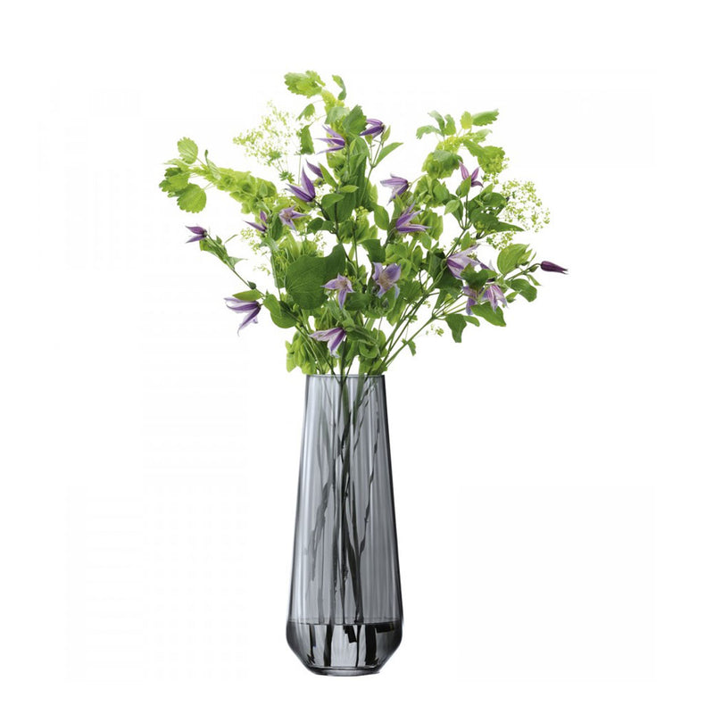 zinc grey glass vase with flower arrangement