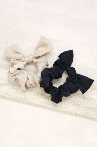 Bella Satin Hair Scrunchie Set in Black and Beige