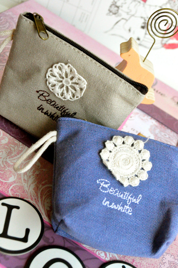 Beautiful in White Crochet Flower Coin Purses