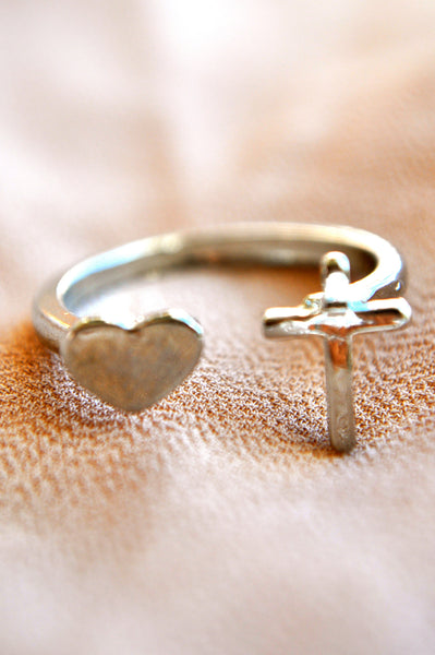 Heart and Cross Ring