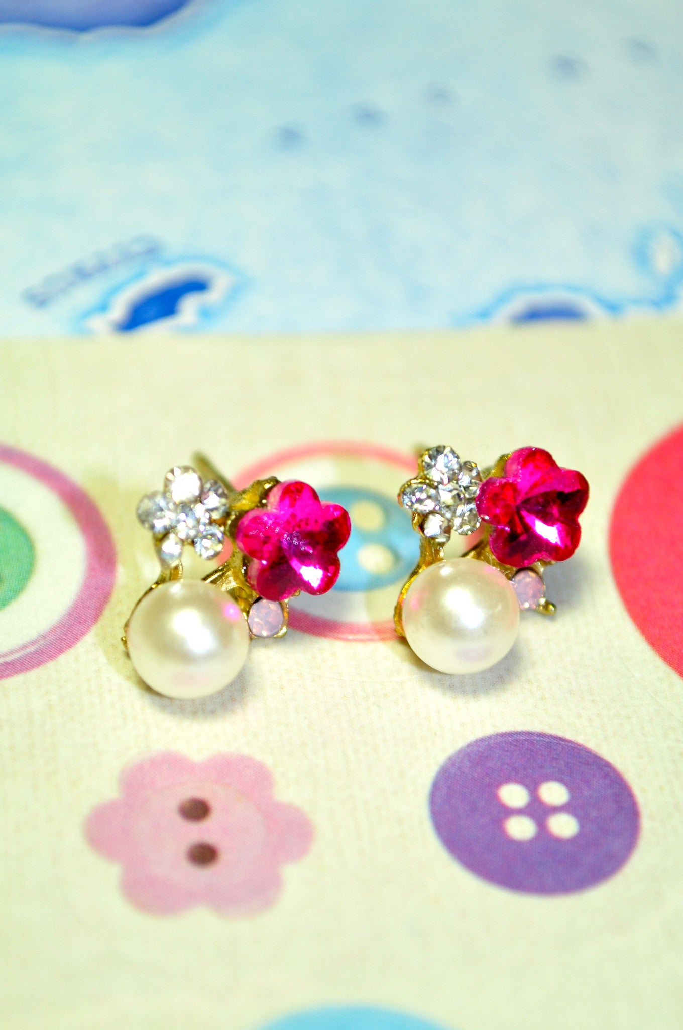 Pink Camelia Pearl Earring