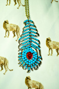 Tribal Tuqoise Feather Necklace