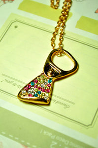 Bejeweled Bottle Opener Necklace