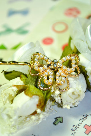 Golden Rosette Bow Pin