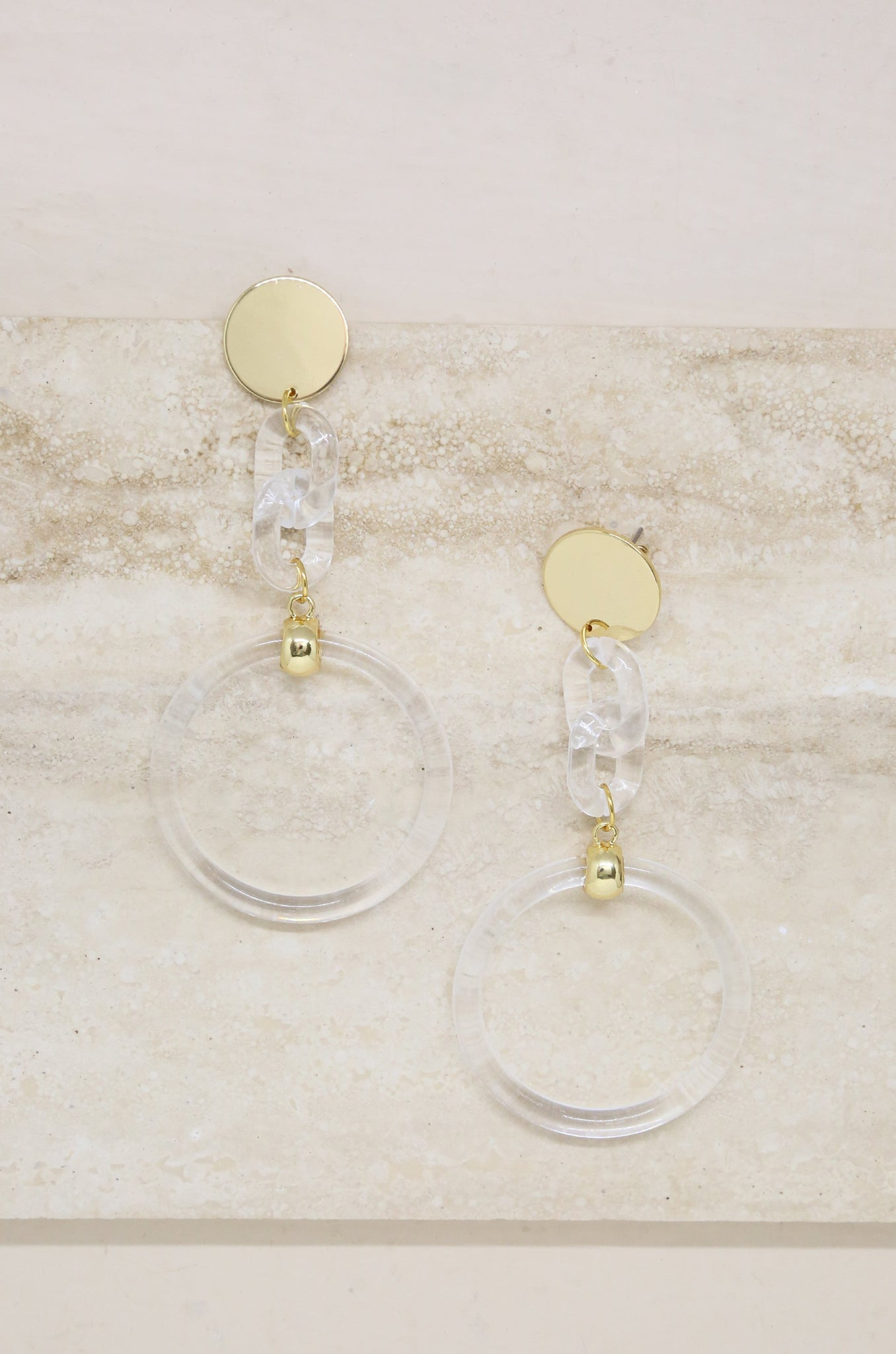 Clear Link Drop Hoops in Gold