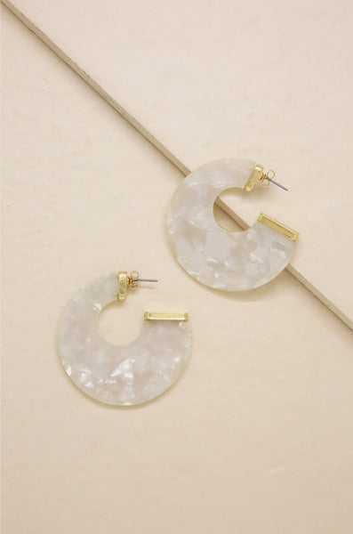 Rosarito Earrings in Cream and Gold