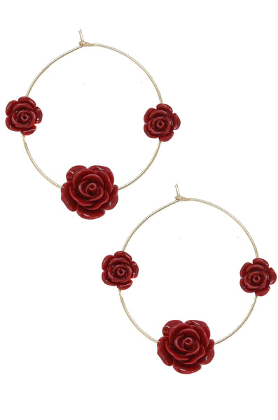 Garden Rose Hoops in Burgundy and Gold