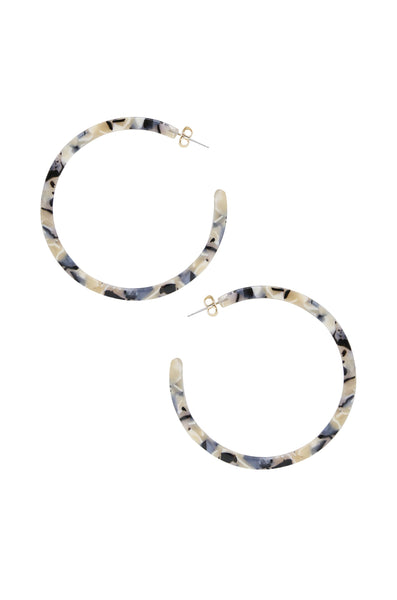 Tan & Black Marbled Resin Hoops