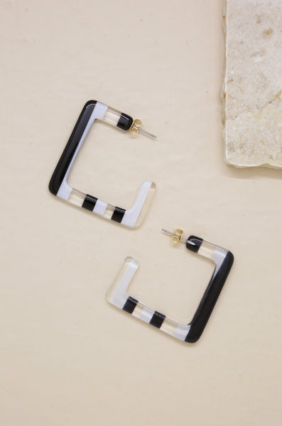 Resin Squared-Off Hoops in Black & White