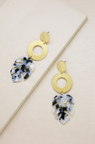 In the Tropics Resin Palm Leaf Earrings in