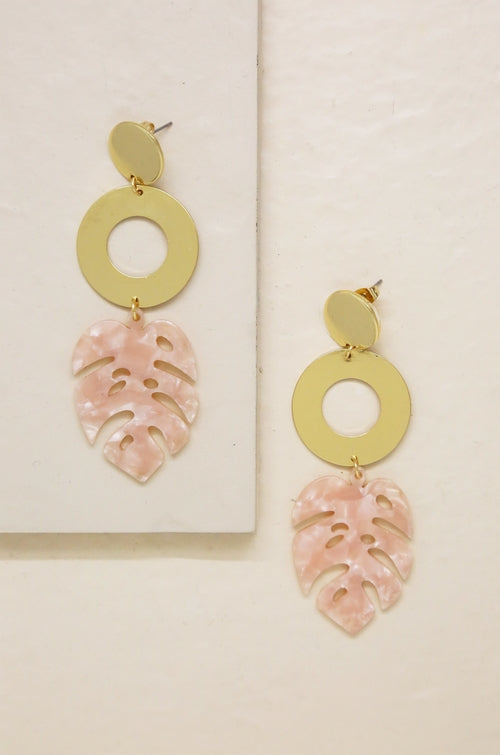 Tropics Pink Resin Palm Leaf & 18kt Gold Plated