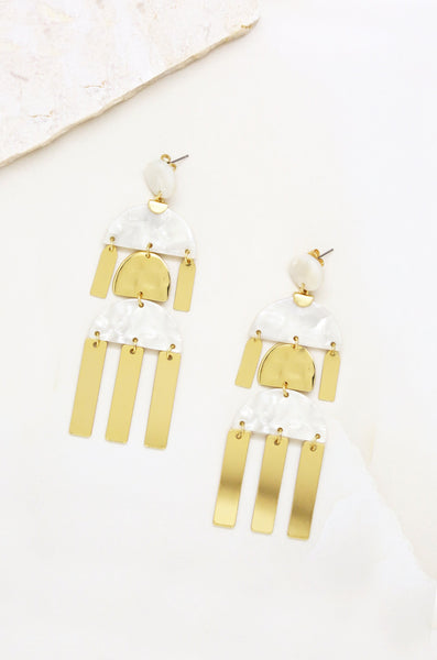 Long Geometric Resin Dangle Earrings in White &