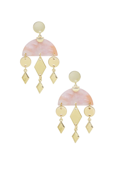 Geometric Gold & Resin Dangle Earrings in Pink