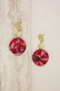 London Resin Drop Circle Earrings in Red & Gold