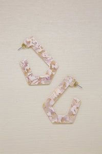 On the Edge Resin Earrings in Blush Pink