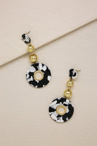Looped in Resin Earrings in Black/White & Gold