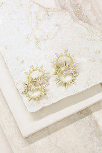 Golden Double Sun Earring with Crystals