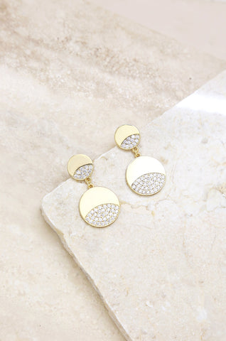 Double Dipped Gold and Crystal Earrings