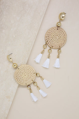 Boho Woven Natural Tassel Earrings in White and