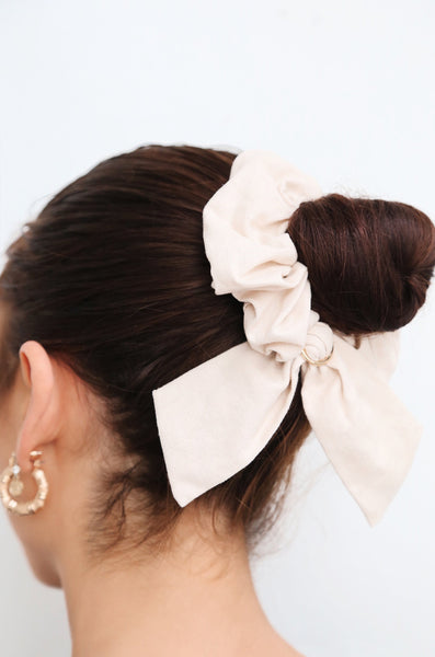 Flirty Bow Hair Scrunchie in Beige