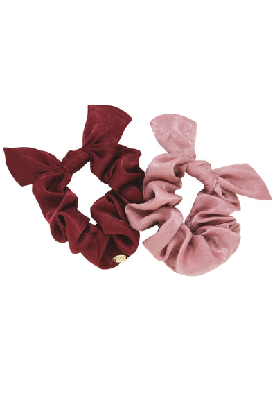Bella Satin Hair Scrunchie Set in Mauve and