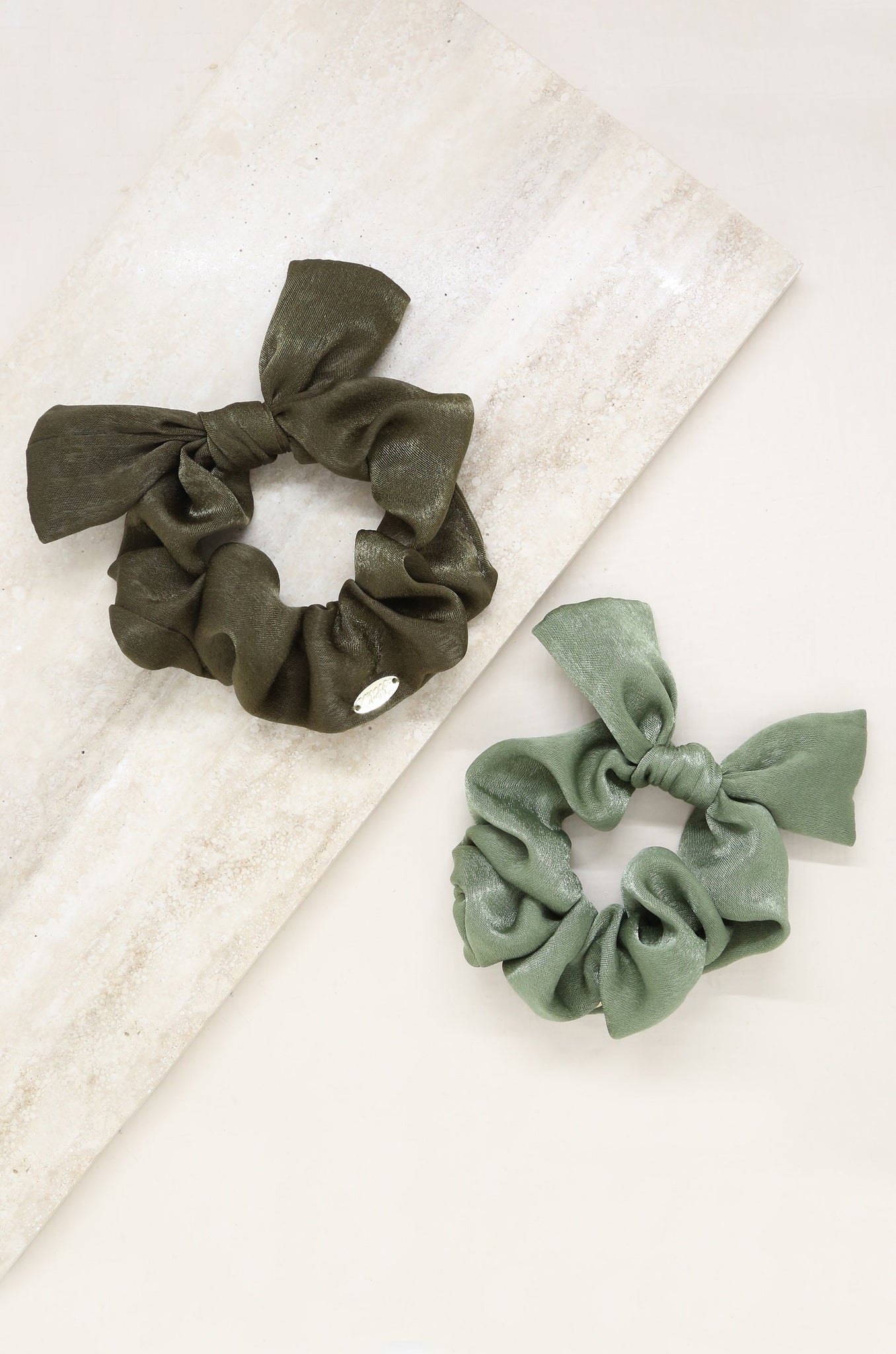 Bella Satin Hair Scrunchie Set in Olive Tones